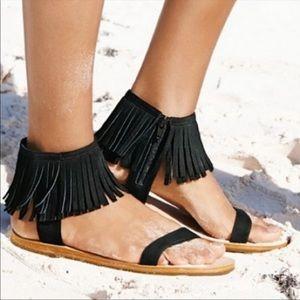 Kate Spade Alex Black Fringe Tassel Sandal Size 10